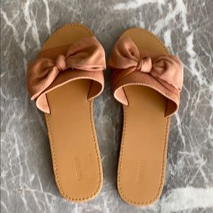 Pink Bow slide on sandals